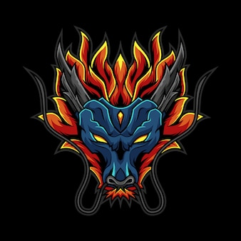 Dragon fire head logo illustration