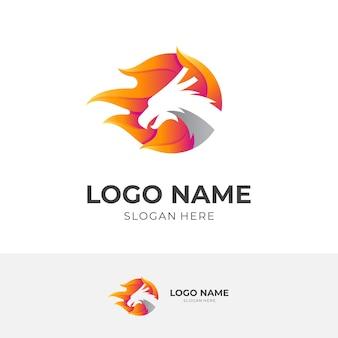 ドラゴンの火のロゴ、ドラゴンと火、3dオレンジとシルバーのカラースタイルの組み合わせロゴ