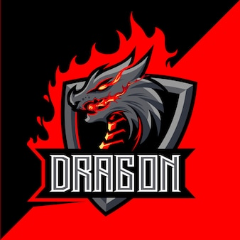 Dragon fire mascot esport logo design