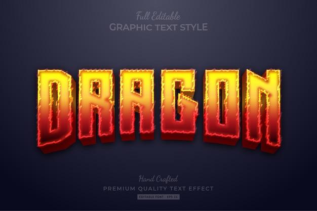 Редактируемый текстовый эффект пламени дракона