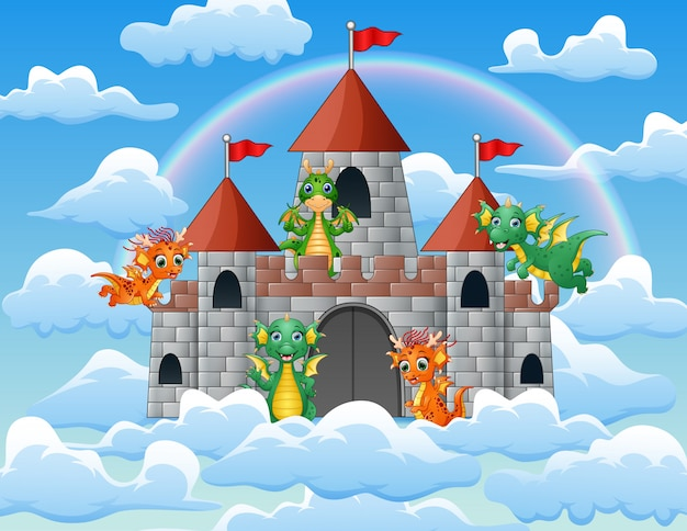 The dragon flew around the fairy tale palace on the cloud