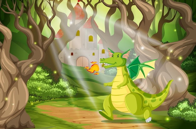 A dragon in the forest castle