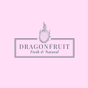 ドラゴンフルーツの抽象的なサイン、シンボルまたはロゴのテンプレート。エレガントなレトロなタイポグラフィとフレームで手描きのエキゾチックなフルーツシルエットスケッチ。ヴィンテージラグジュアリーエンブレム。