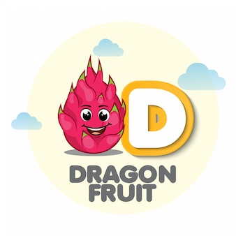 Dragon fruit mascot with letter d