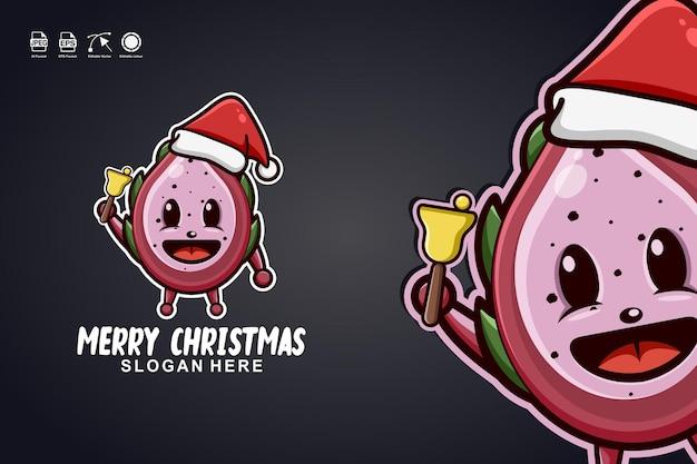 ドラゴンフルーツメリークリスマスかわいいマスコットキャラクターのロゴデザイン