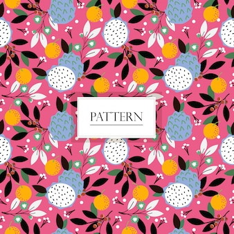 Dragon fruit, orange , blueberry and flower seamless pattern