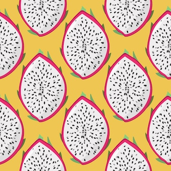 Dragon fruit (pitaya, pitahaya) seamless pattern.