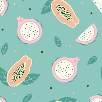 Dragon fruit seamless pattern