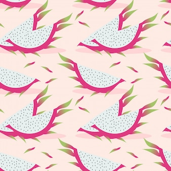 Dragon fruit seamless pattern.