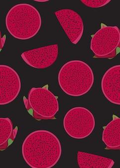 Dragon fruit slice seamless pattern