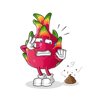 Dragon fruit with stinky waste illustration.