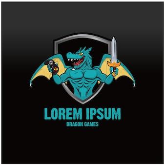 Dragon game logo concept Premium Vector