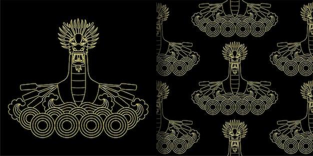 ドラゴンゴールドボートプリントとシームレスパターンセット