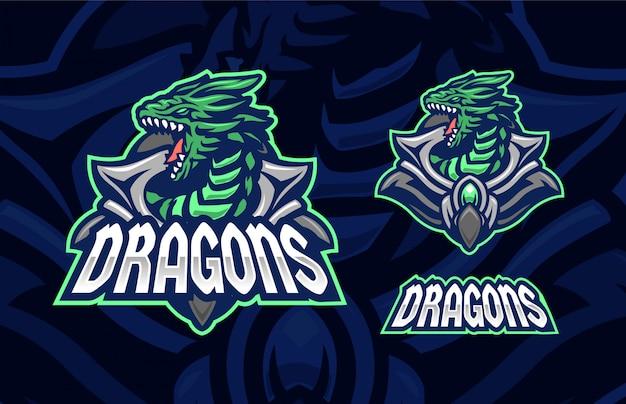 Дракон зеленый премиум спортивный логотип символ концепция