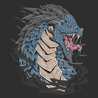 Dragon head blue colour angry face illustration