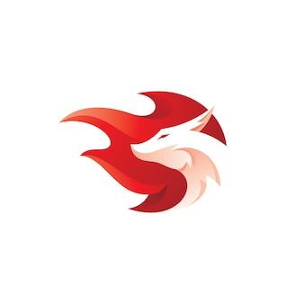 Dragon head and fire mascot logo