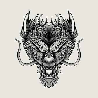 용 머리 손 그리기 흑백 그림 디자인 프리미엄 벡터