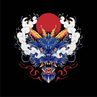 ドラゴンヘッドのイラスト、tシャツ、アパレル、商品のデザインに最適