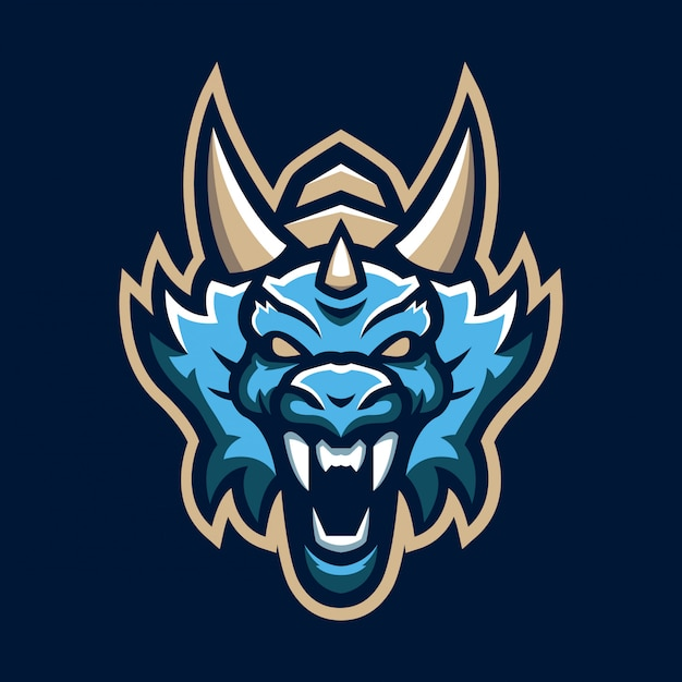 Dragon head mascot logo