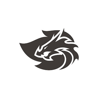 Dragon head silhouette and fire flame symbol vector logo in black and white color