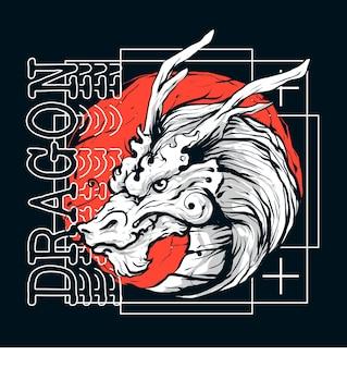 Векторная иллюстрация головы дракона с красным солнцем за ним в японском стиле. современный минималист. подходит для футболок и одежды