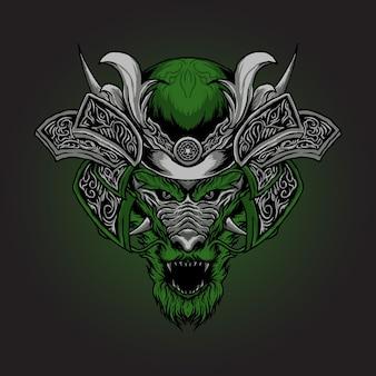 Dragon head with armored samurai vector illustration