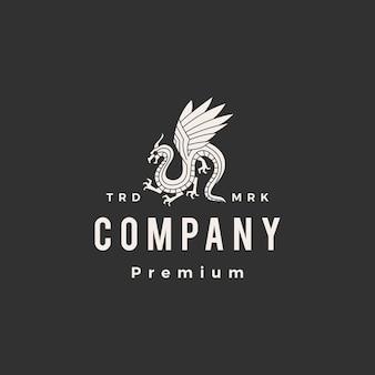 Дракон битник старинный логотип шаблон