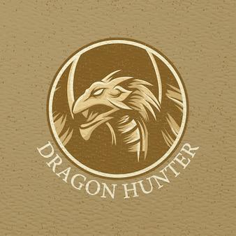Tシャツデザインのドラゴンハンターイラスト