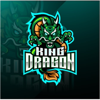 Dragon king mascot logo design