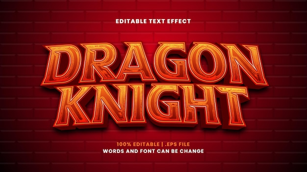 Dragon knight editable text effect in modern 3d style