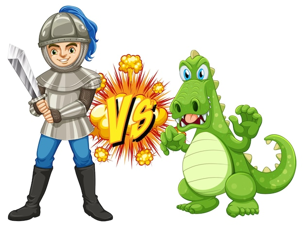 Dragon and knight fighting each other on white