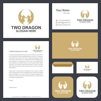 Логотип дракона и визитка премиум