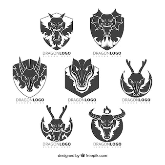 Dragon logo collection with flat design