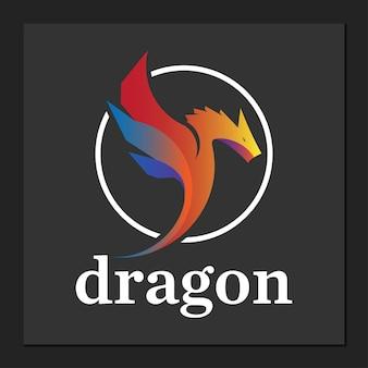 Дизайн логотипа дракона в простом раунде