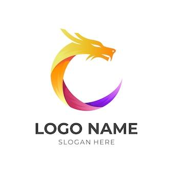 3dカラフルなスタイルのドラゴンのロゴデザイン