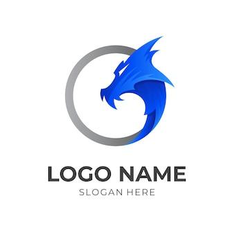 ドラゴンのロゴ、ドラゴンとサークル、3dブルーとシルバーのカラースタイルの組み合わせロゴ