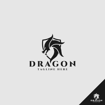 Dragon logo with shield