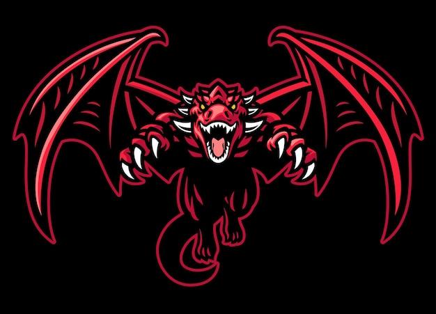 大きな翼でしゃがみ込んでいるドラゴンのマスコット