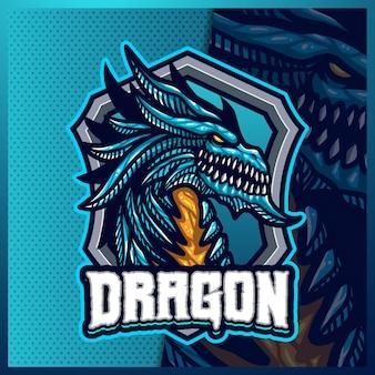 ドラゴンマスコットeスポーツロゴデザインイラストテンプレート、チームゲームの獣ロゴ