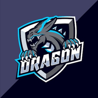 Дракон талисман киберспорт дизайн логотипа