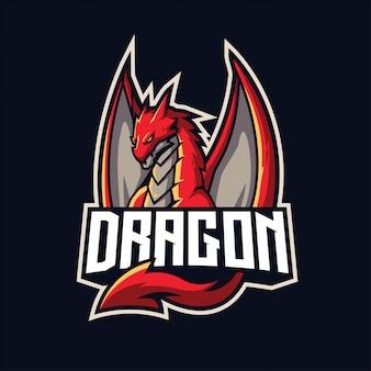 分離されたスポーツとeスポーツのロゴのドラゴンマスコット