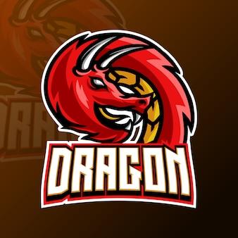 Dragon mascot gaming logo design template for esport