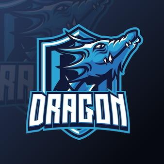 Eスポーツのドラゴンマスコットゲームロゴデザインテンプレート