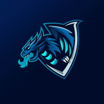 Dragon mascot logo design vector with modern illustration concept style for badge, emblem and t shirt printing