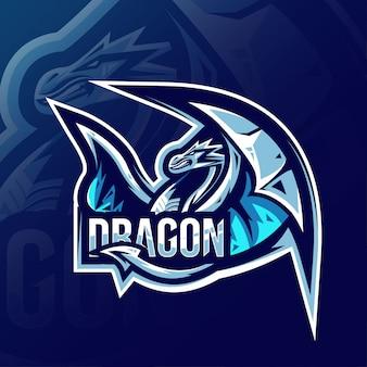 ドラゴンマスコットロゴeスポーツデザイン