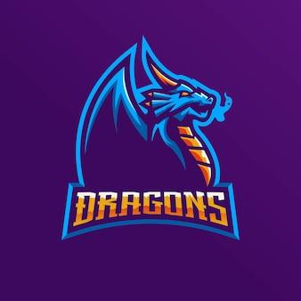 Eスポーツチームのドラゴンマスコットロゴ。
