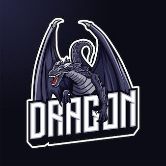 Eスポーツとスポーツのためのドラゴンマスコットのロゴ