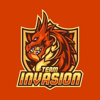 Eスポーツチームのドラゴンマスコットロゴ