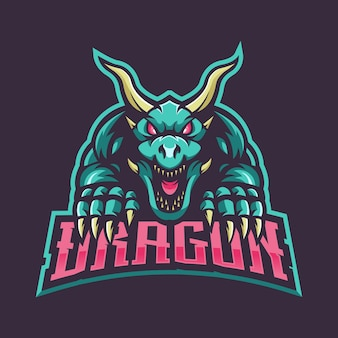 Dragon mascot logo for gaming