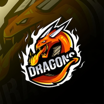 Dragon mascot logo template
